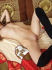 Blonde girl masturbating